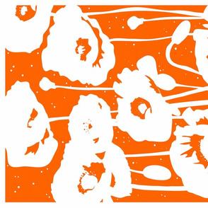 Tea towel // Poppies in Flame Orange - Monochrome design modern floral by Zoe Charlotte