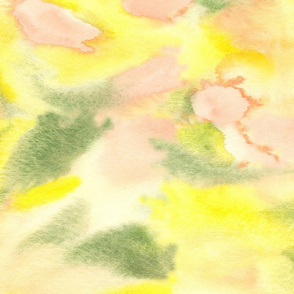 17-12X Peach Coral Yellow Green Watercolor Abstract Modern _ Miss Chiff Designs