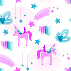 Electric Pink Unicorns Stars and Clouds