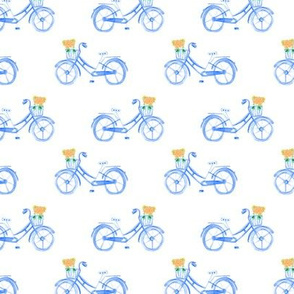 17-12V Bike bicycle Watercolor Blue  With Flowers || Summer Floral transportation _Miss Chiff Designs