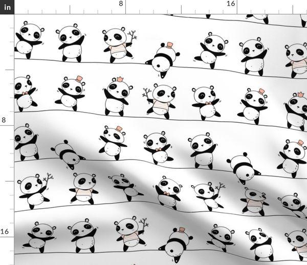 Fabric by the Yard. Pandaline - cute scandinavian panda pattern