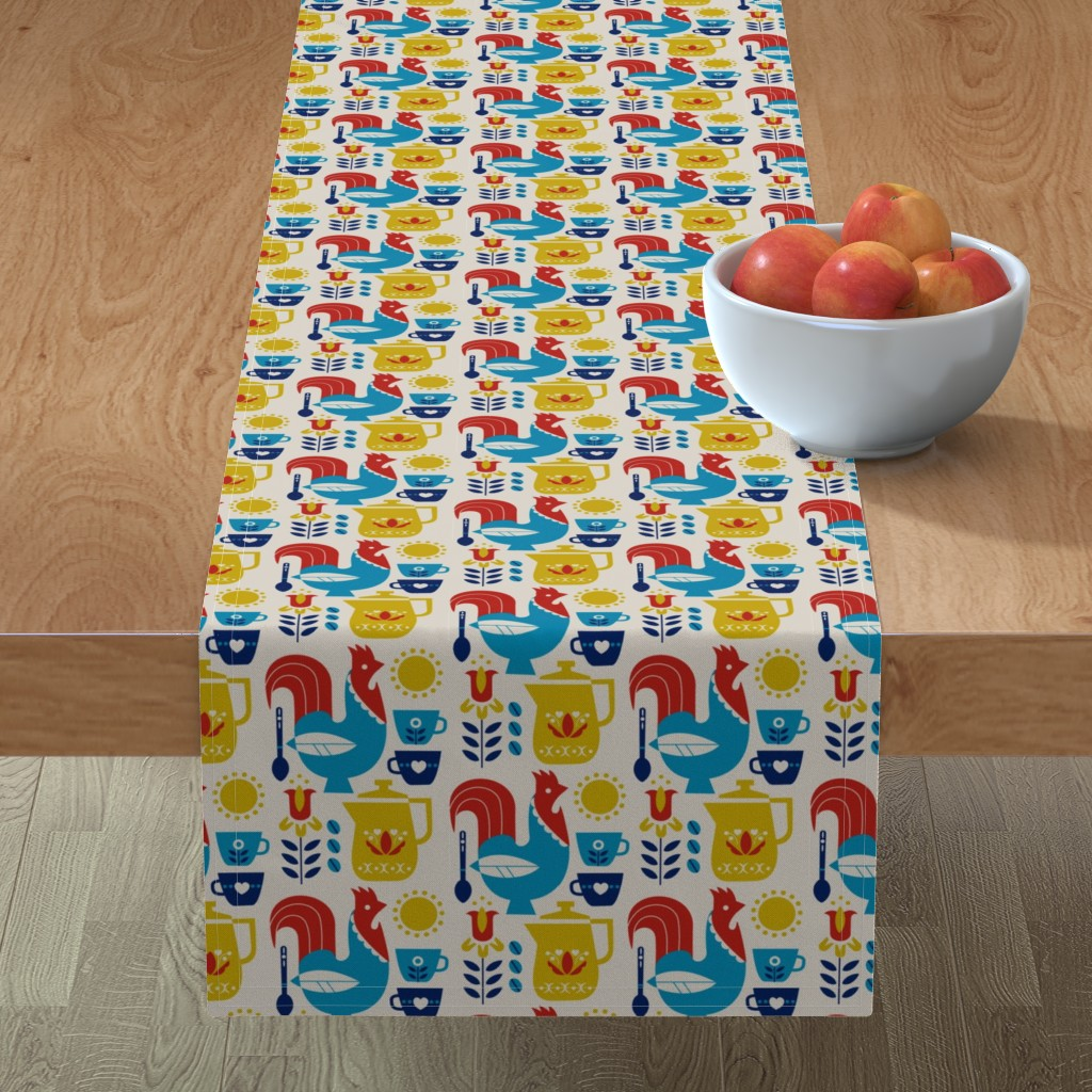 Minorca Table Runner featuring Morning Kaffe by cindylindgren