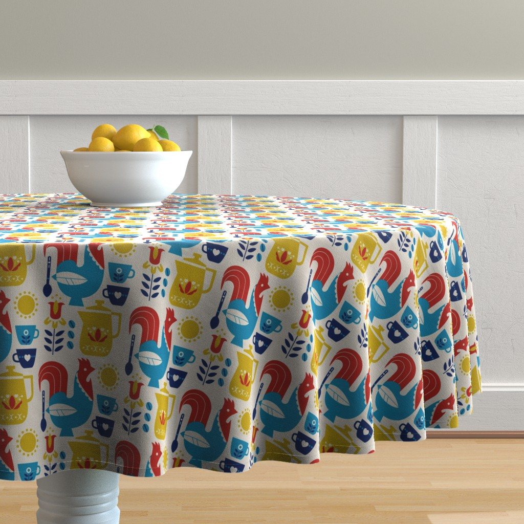 Malay Round Tablecloth featuring Morning Kaffe by cindylindgren