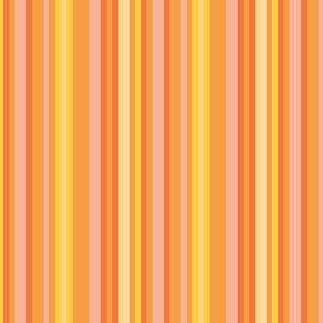 17-12R Dark Citrus Stripe || Coral peach orange lemon yellow fruit summer pin stripe pinstripe