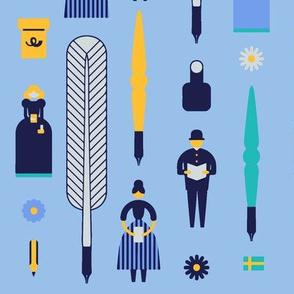 Swedish Folk Pattern Blue Background