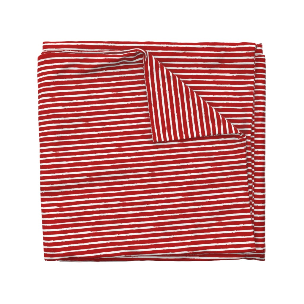 Wyandotte Duvet Cover featuring White Painted Stripes on Red (Grunge Vintage Distressed 4th of July American Flag Stripes) by sweeterthanhoney