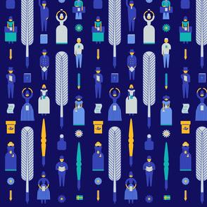 Swedish Folk Pattern Navy Background