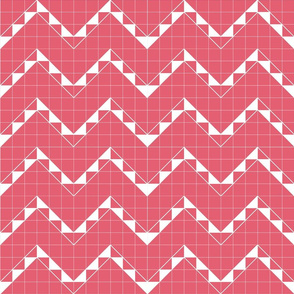 Zigzag Grid Watermelon Pink Upholstery Fabric