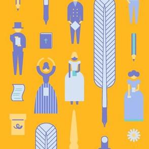 Swedish Folk Pattern Yellow Background