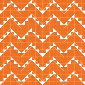 Zigzag Grid Orange Upholstery Fabric