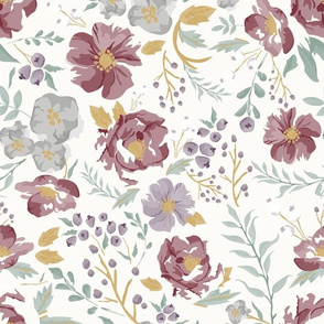 Harvest Meadow Floral on Cream