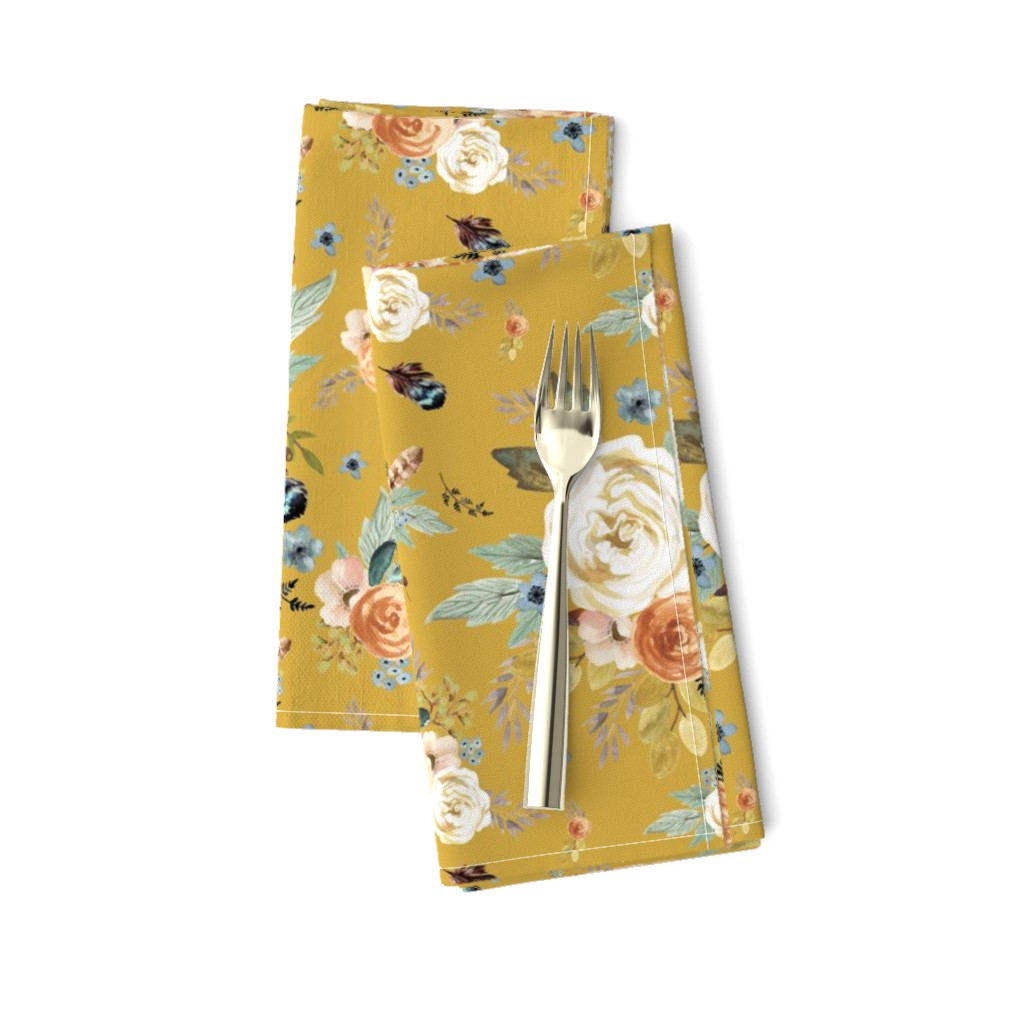 """Amarela Dinner Napkins featuring 8"""" Western Autumn / Mustard Color 2017 by shopcabin"""