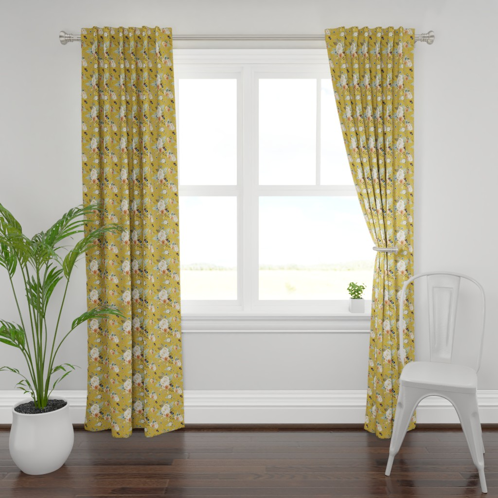 """Plymouth Curtain Panel featuring 8"""" Western Autumn / Mustard Color 2017 by shopcabin"""