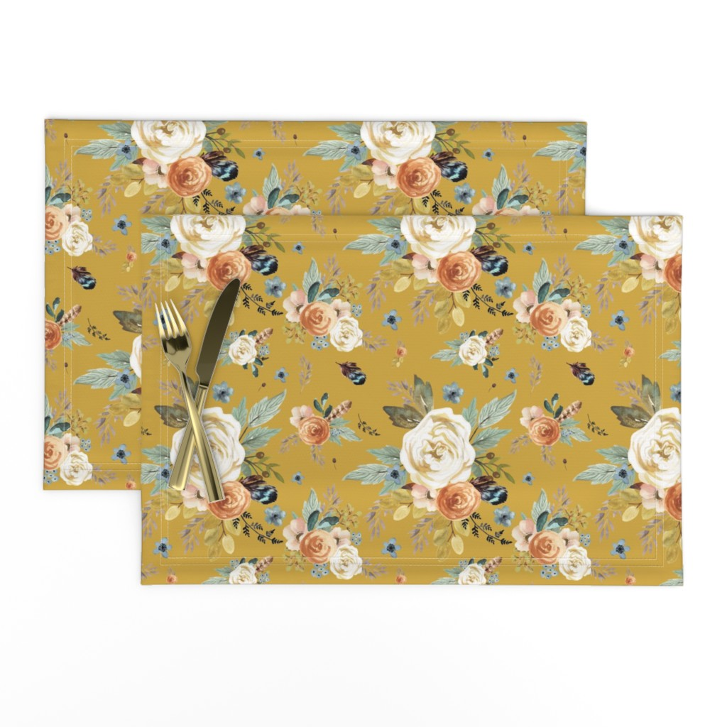 """Lamona Cloth Placemats featuring 8"""" Western Autumn / Mustard Color 2017 by shopcabin"""
