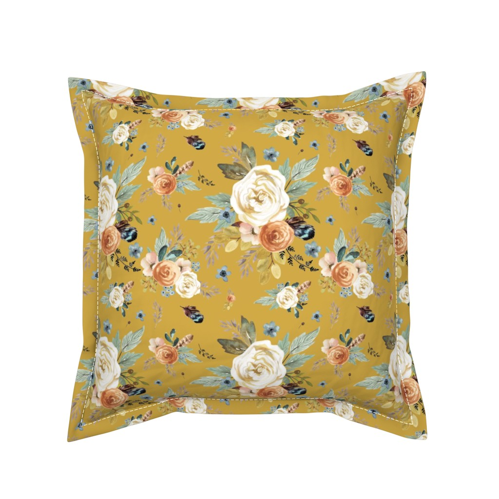 """Serama Throw Pillow featuring 8"""" Western Autumn / Mustard Color 2017 by shopcabin"""
