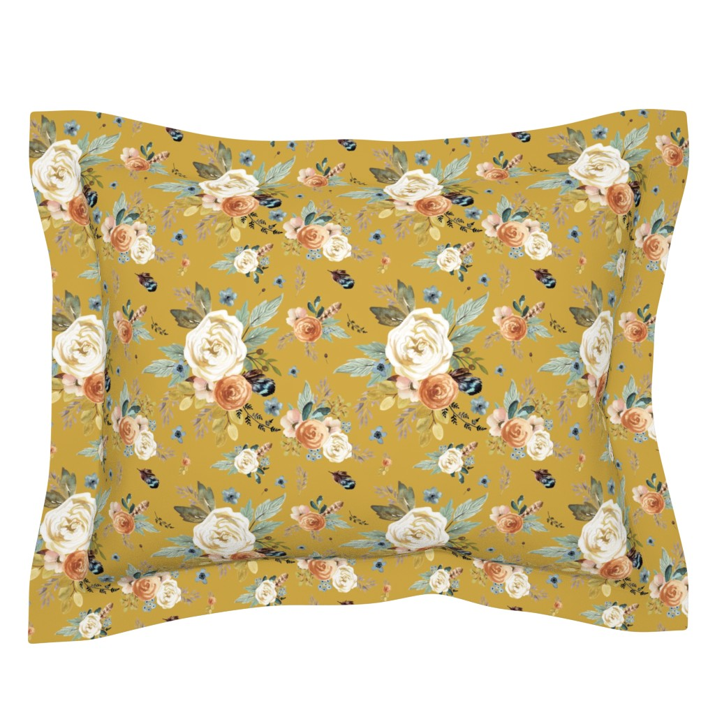 "Sebright Pillow Sham featuring 8"" Western Autumn / Mustard Color 2017 by shopcabin"
