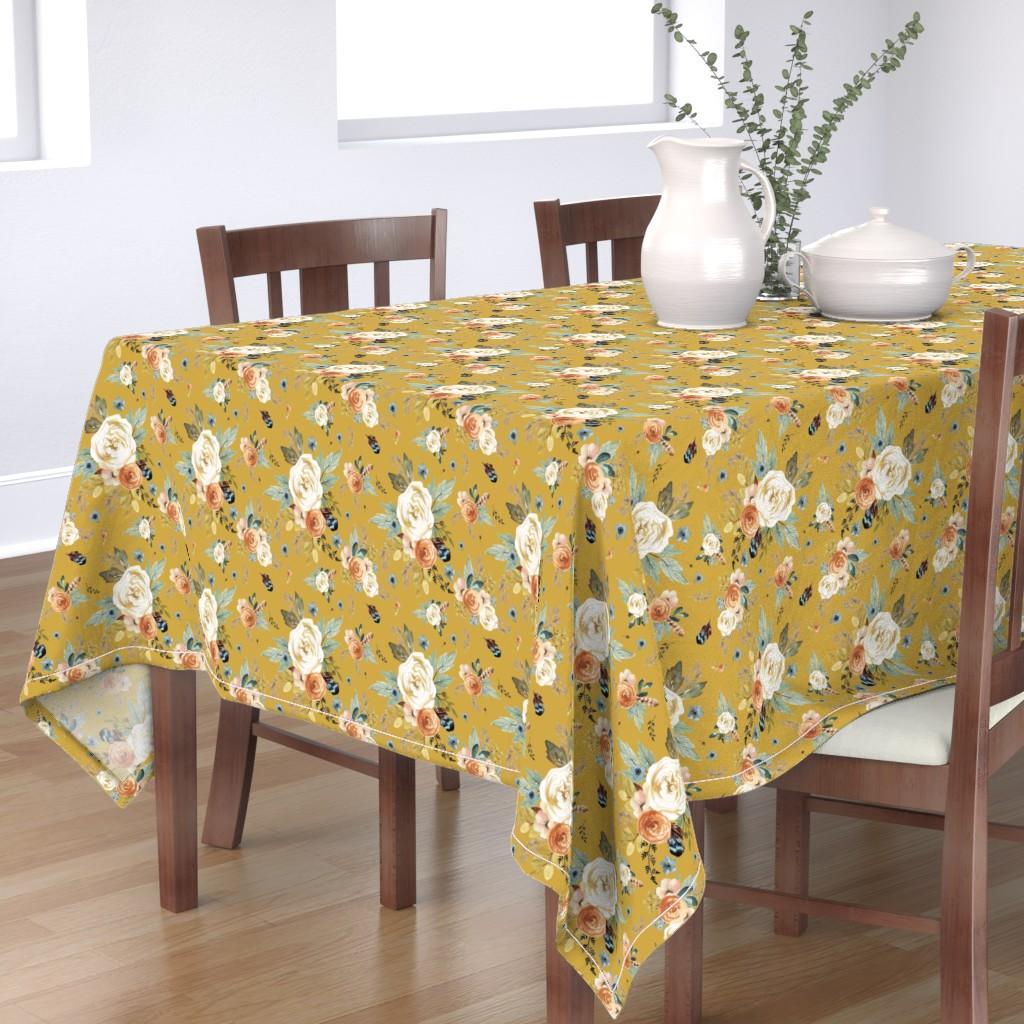 "Bantam Rectangular Tablecloth featuring 8"" Western Autumn / Mustard Color 2017 by shopcabin"
