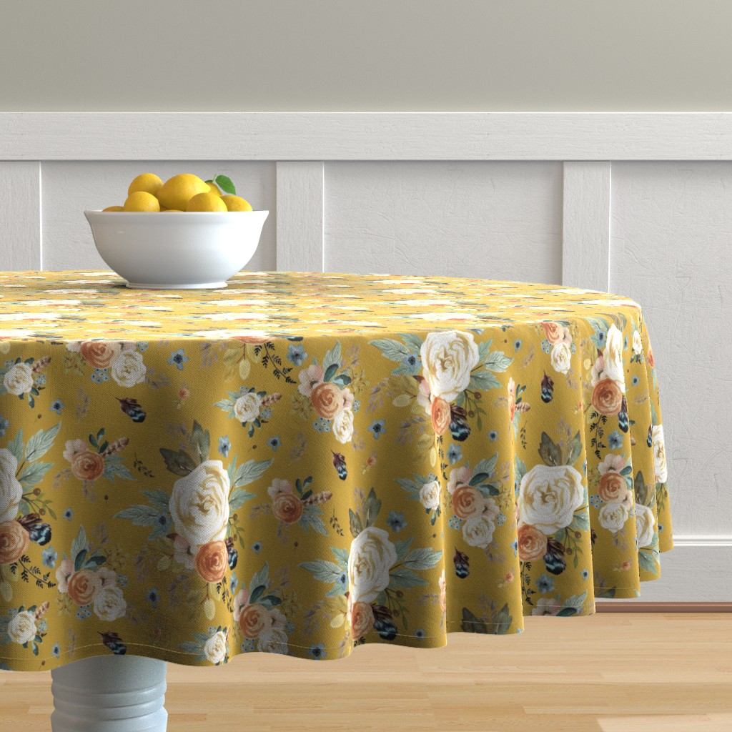 """Malay Round Tablecloth featuring 8"""" Western Autumn / Mustard Color 2017 by shopcabin"""