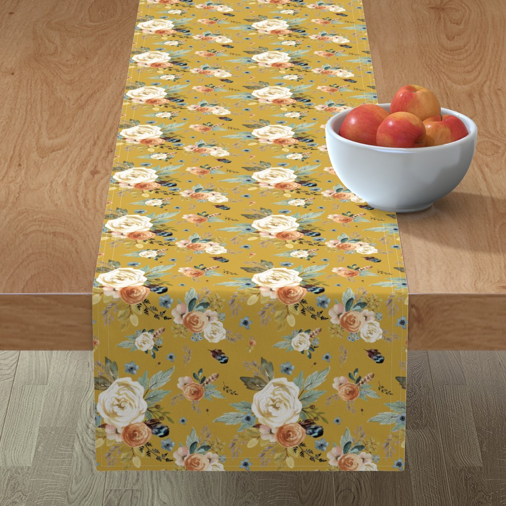 "Minorca Table Runner featuring 8"" Western Autumn / Mustard Color 2017 by shopcabin"