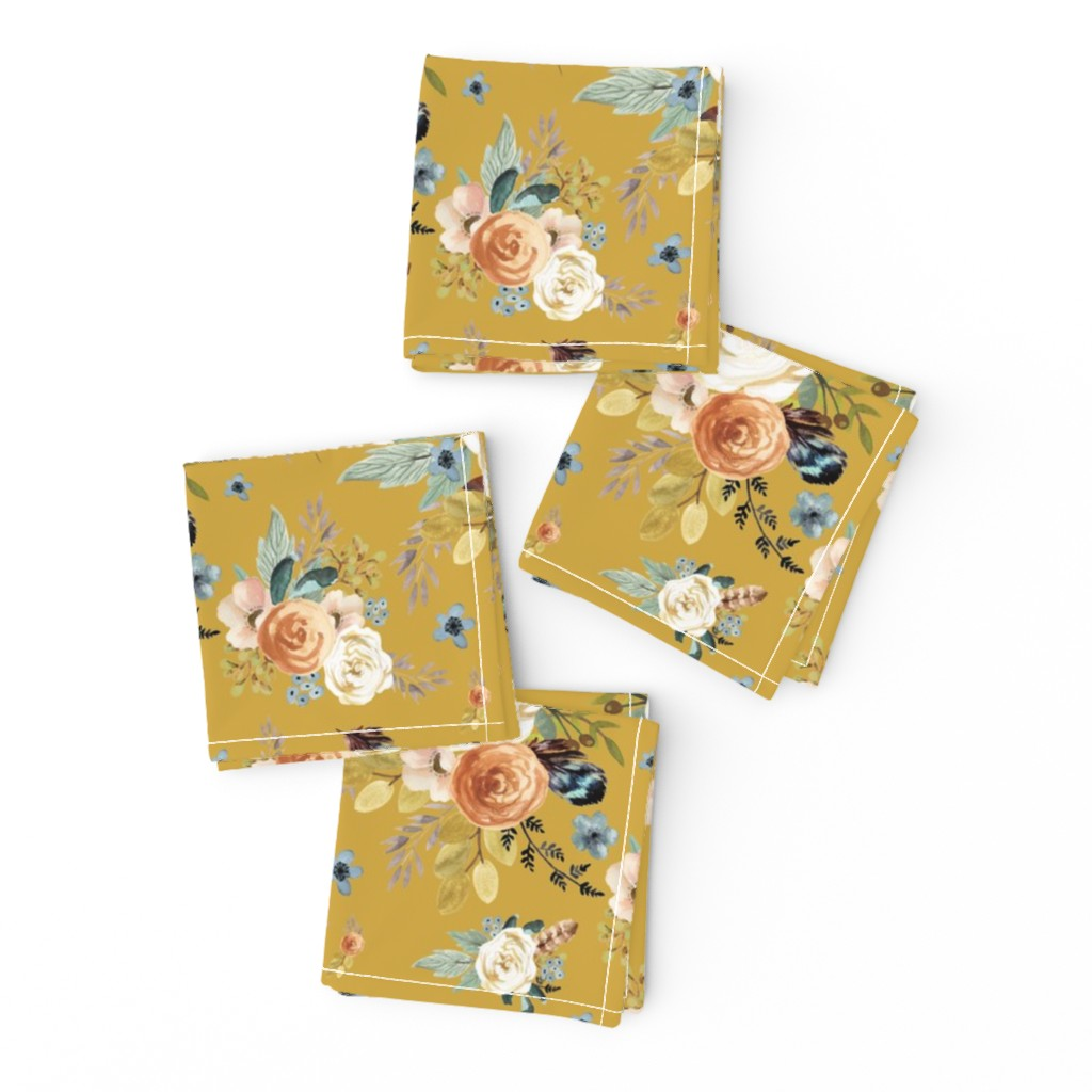 """Frizzle Cocktail Napkins featuring 8"""" Western Autumn / Mustard Color 2017 by shopcabin"""