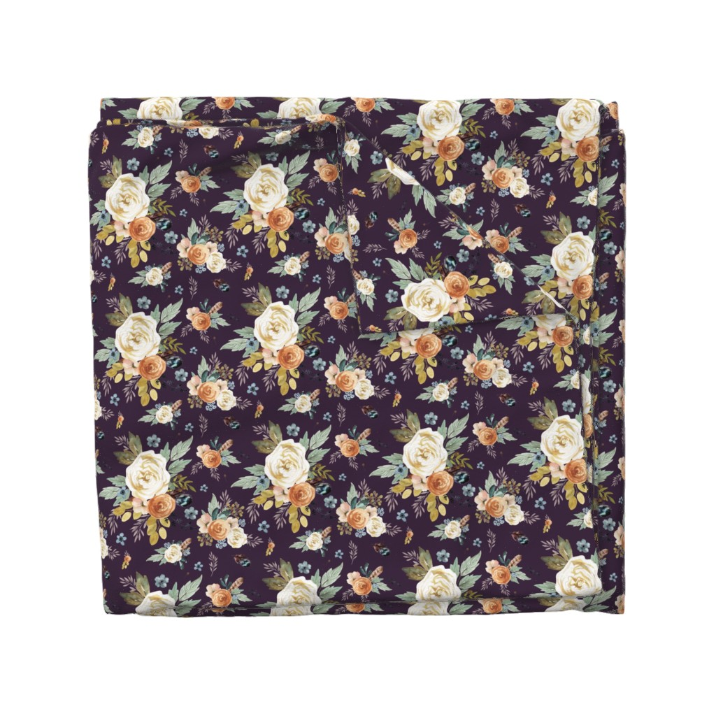 """Wyandotte Duvet Cover featuring 8"""" Western Autumn / Eggplant Color 2017 by shopcabin"""