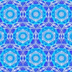 Mosaic Hand Drawin Pattern Fabric Blue