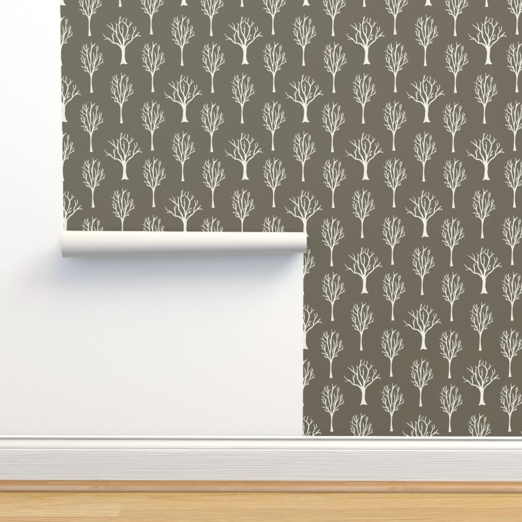 Isobar Durable Wallpaper featuring Winter Trees - Ivory, Clay by fernlesliestudio