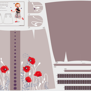Flower skirt (poppy) with a box pleat in the front