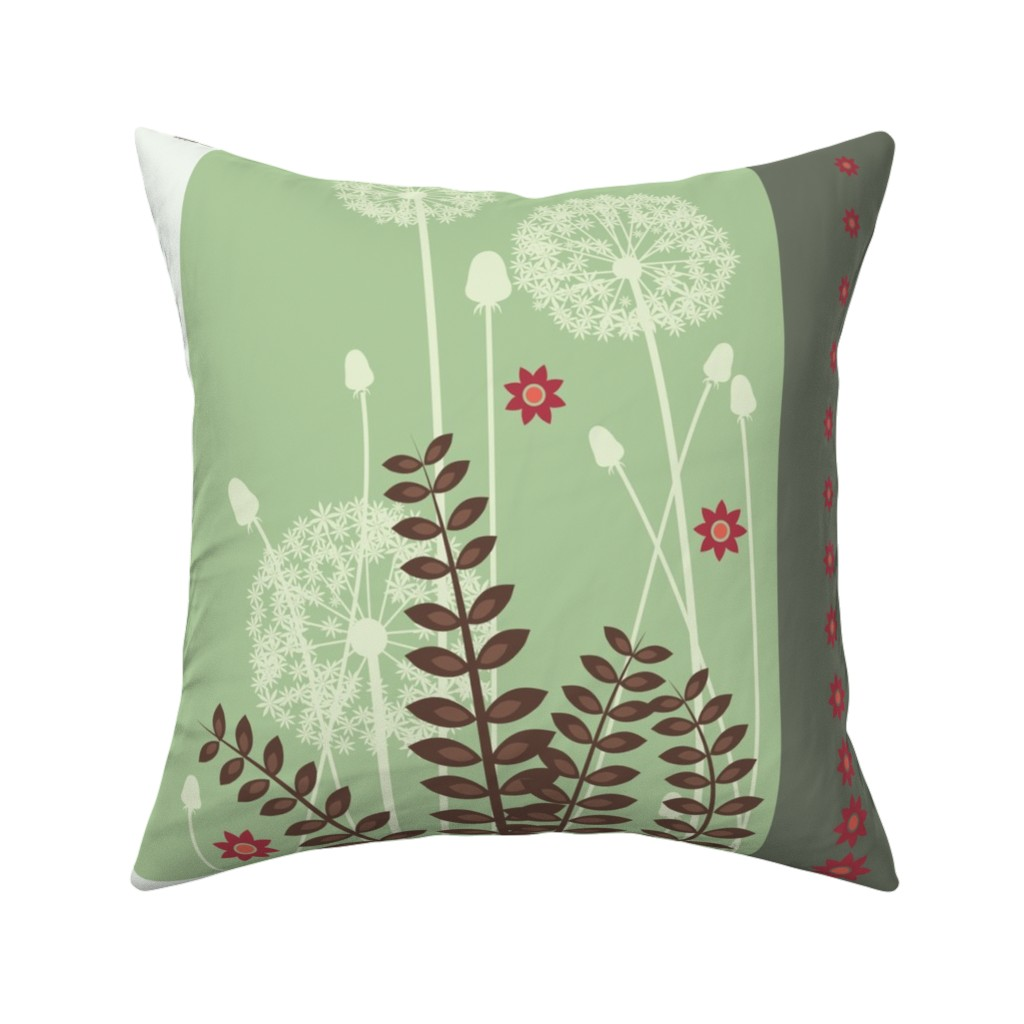 Catalan Throw Pillow featuring Flower skirt (dandelion) with a box pleat in the front by verycherry