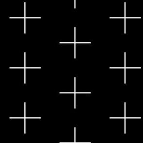 Thin line swiss cross / white on black