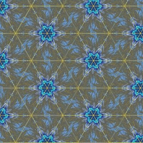Blue Flowers on Olive Green Upholstery Fabric