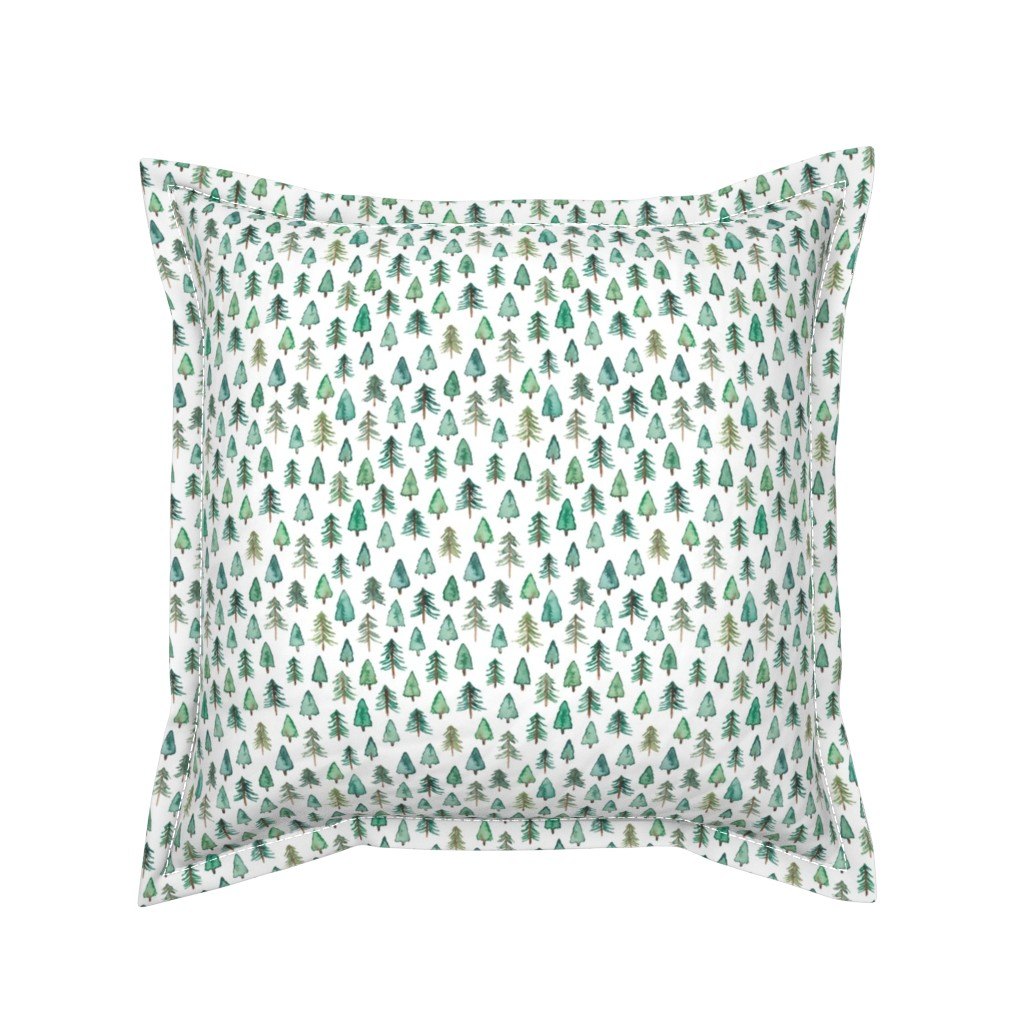 Serama Throw Pillow featuring Evergreen Christmas Trees or Forest (smaller) by elena_o'neill_illustration_