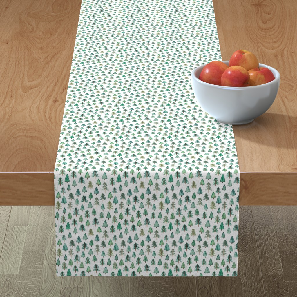 Minorca Table Runner featuring Evergreen Christmas Trees or Forest (smaller) by elena_o'neill_illustration_
