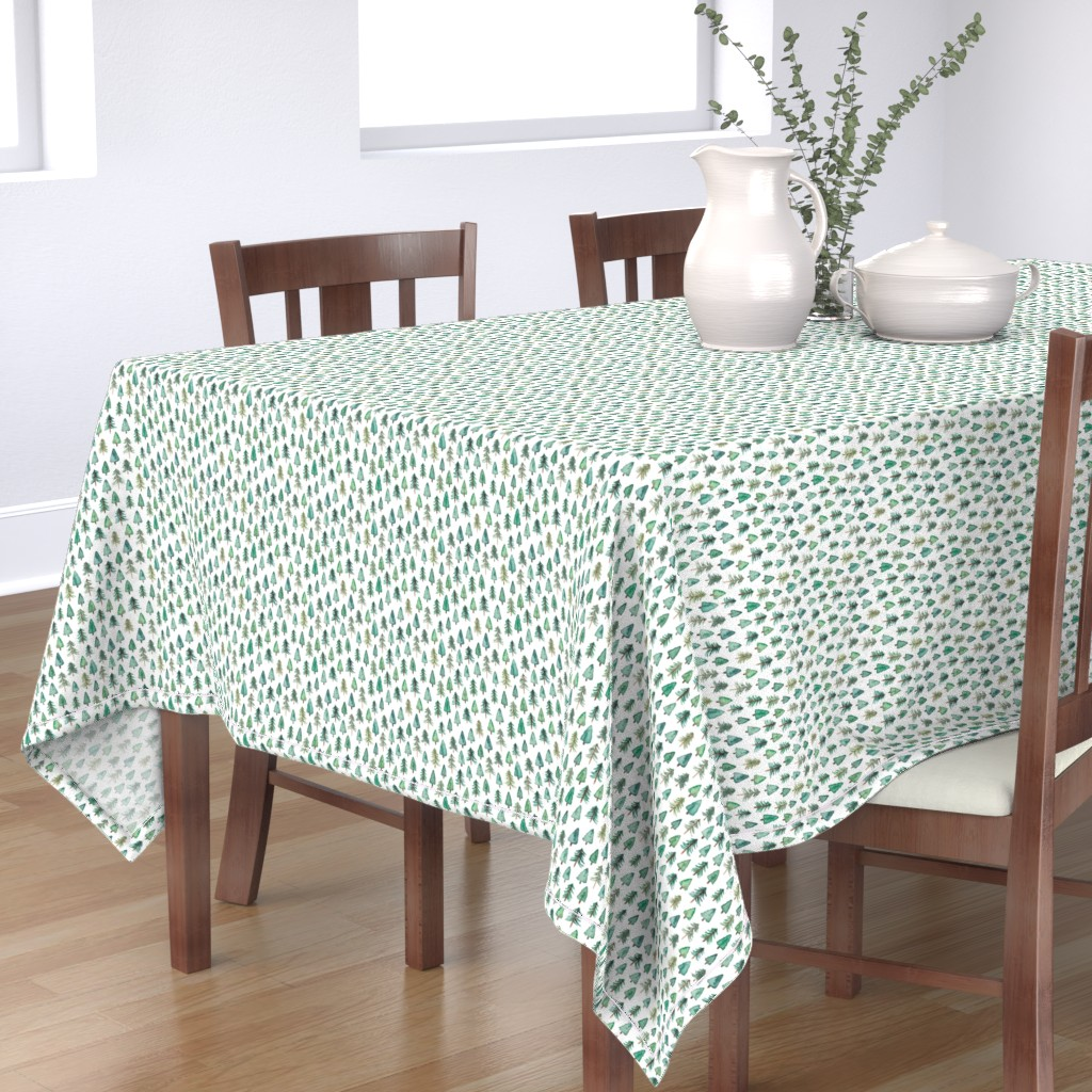 Bantam Rectangular Tablecloth featuring Evergreen Christmas Trees or Forest (smaller) by elena_o'neill_illustration_