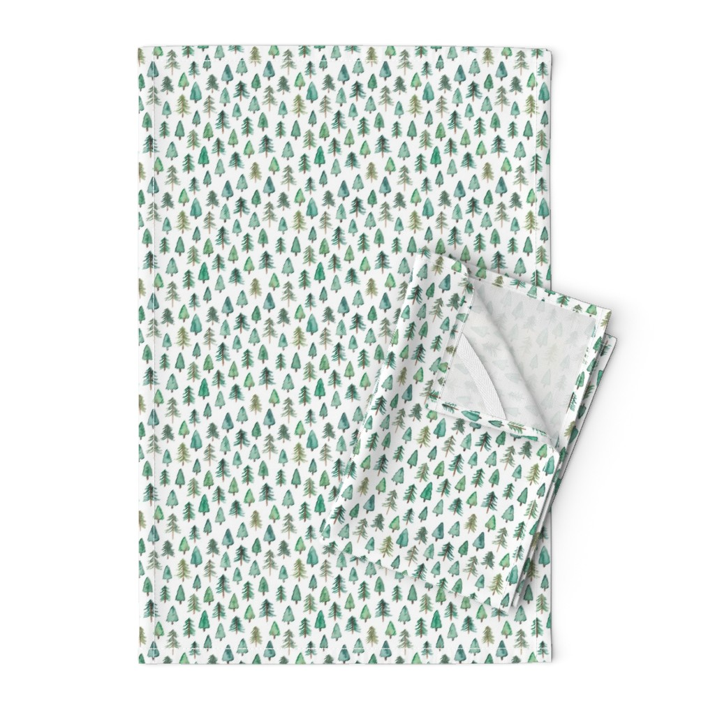 Orpington Tea Towels featuring Evergreen Christmas Trees or Forest (smaller) by elena_o'neill_illustration_