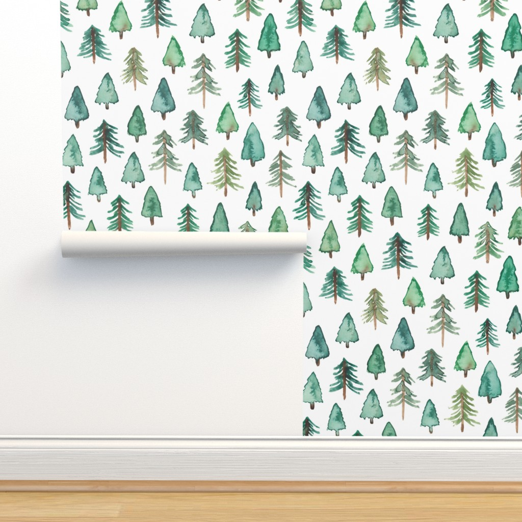Isobar Durable Wallpaper featuring Evergreen Christmas Trees or Forest (smaller) by elena_o'neill_illustration_