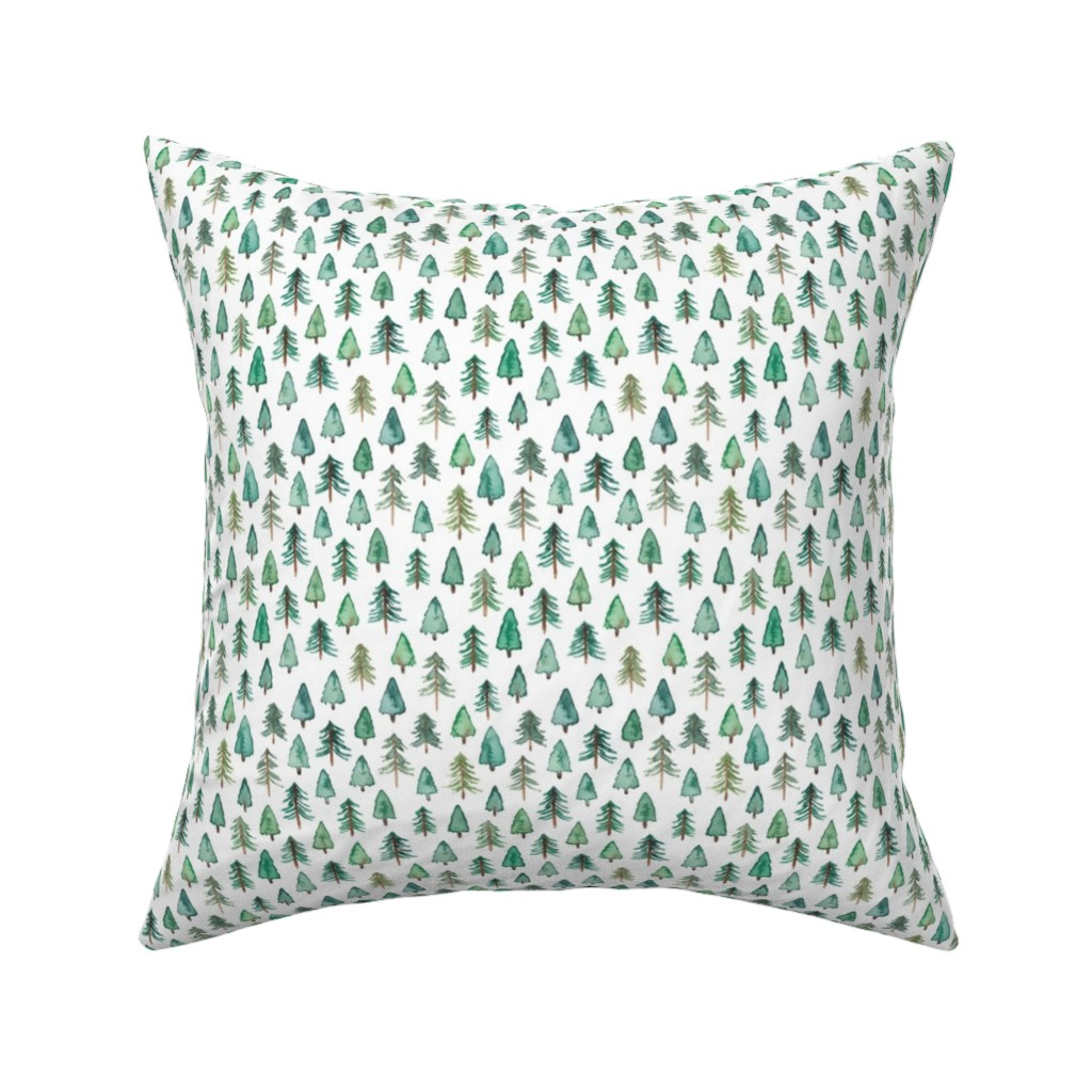 Catalan Throw Pillow featuring Evergreen Christmas Trees or Forest (smaller) by elena_o'neill_illustration_