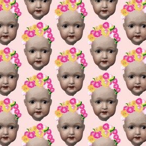Baby Girl doll head || Painted Floral Flowerpink yellow green