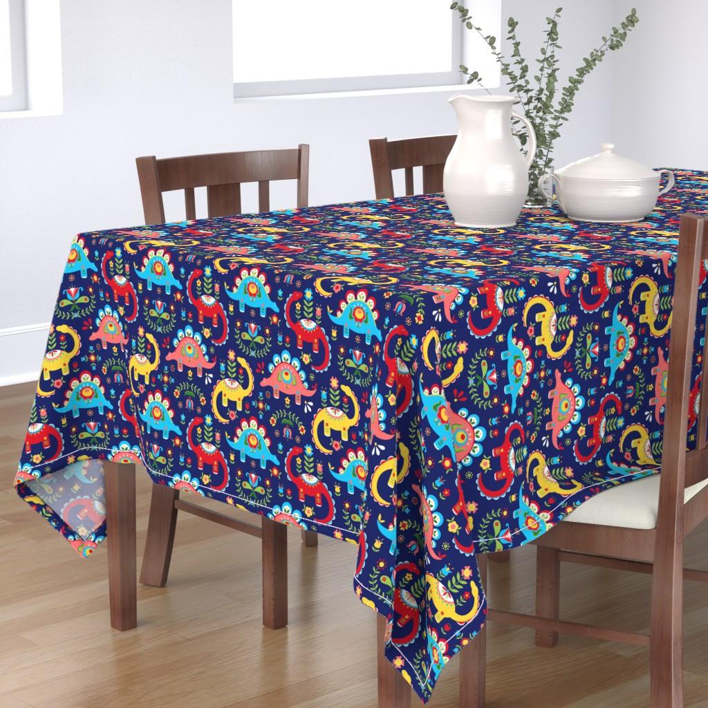Bantam Rectangular Tablecloth featuring Folk Art Dinosaurs by robinskarbek