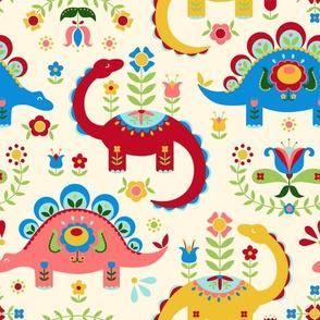 Folk Art Dinosaurs - Cream background