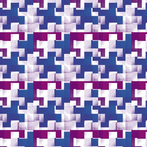 Puzzle Pieces Blue and White Upholstery Fabric