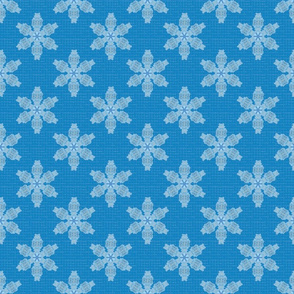 Snowflakes on Blue Upholstery Fabric