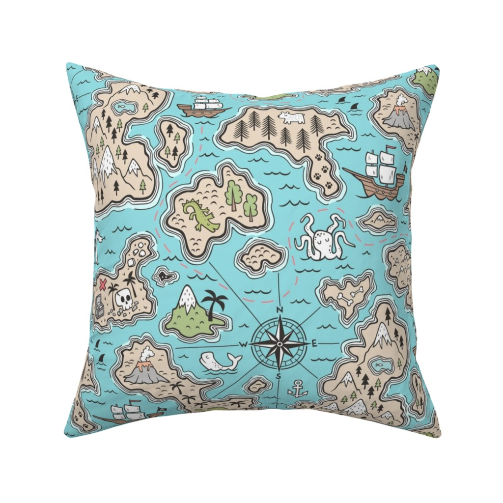 Catalan Throw Pillow featuring Pirate Adventure Nautical Map with Mountains, Ships, Compass, Trees & Waves in Blue Large Size by caja_design