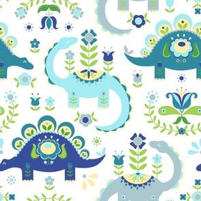 Folk Art Dinosaurs - Blue Light