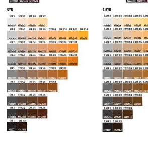 Color Chart Munsell 5Y to 10P