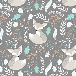 Gray Fox - Sleepy Foxes (steel grey) Baby Boy Nursery Woodland Animals Kids Childrens Bedding S2