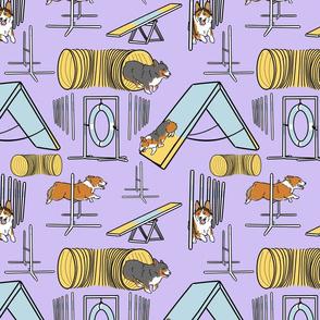 Simple Pembroke Welsh Corgi agility dogs - purple