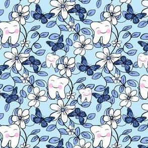 Tooth Toile Flutter / Dental Floral - Blue  small