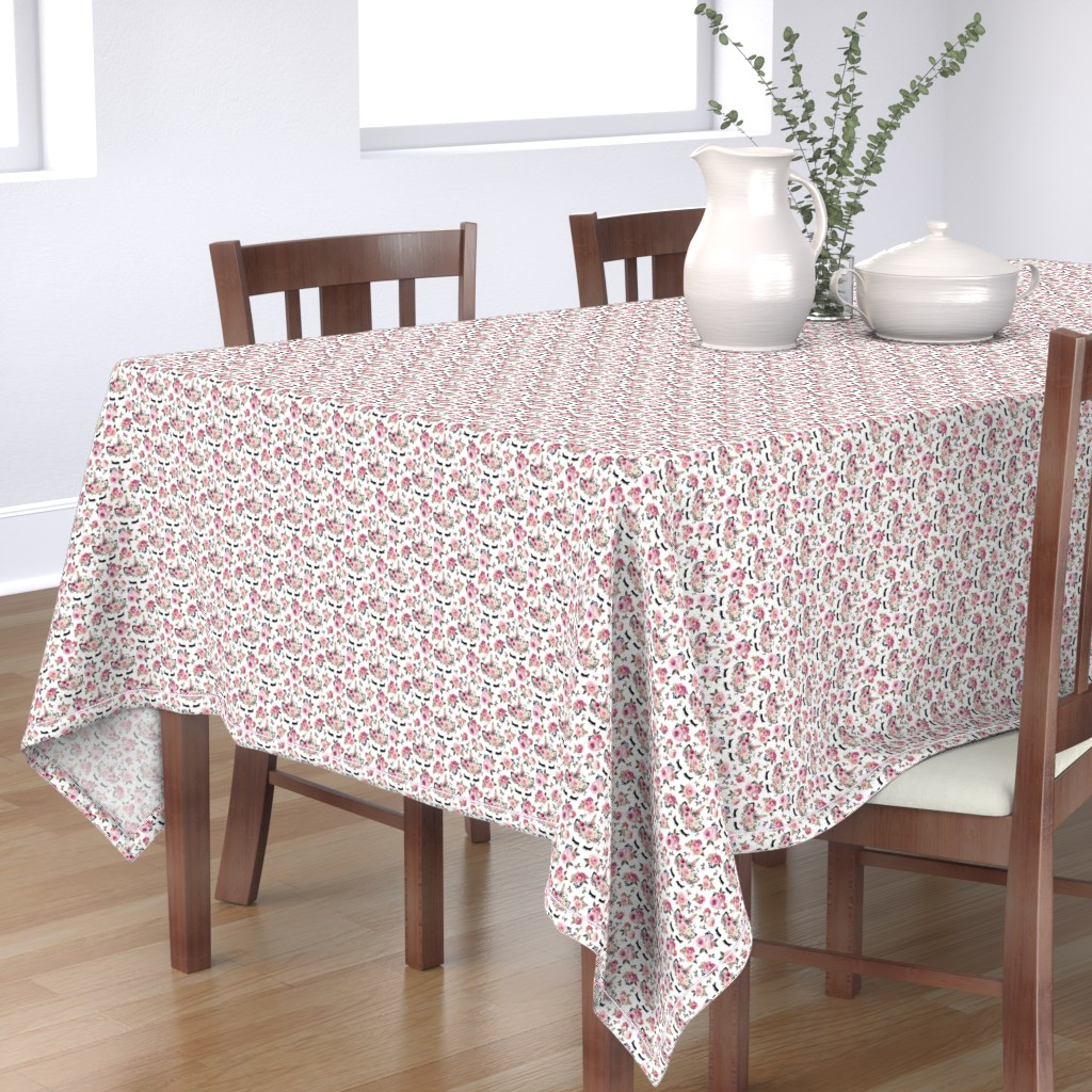 Bantam Rectangular Tablecloth featuring dusty rose white small by lil'faye
