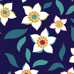 Clean and Simple Floral on Navy